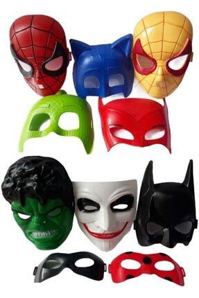 OYUNCAKSAHİLİ Maske 10 Örümcekadam Hulk Joker Batman Pijamaskeli Uğurböceği Karakedi