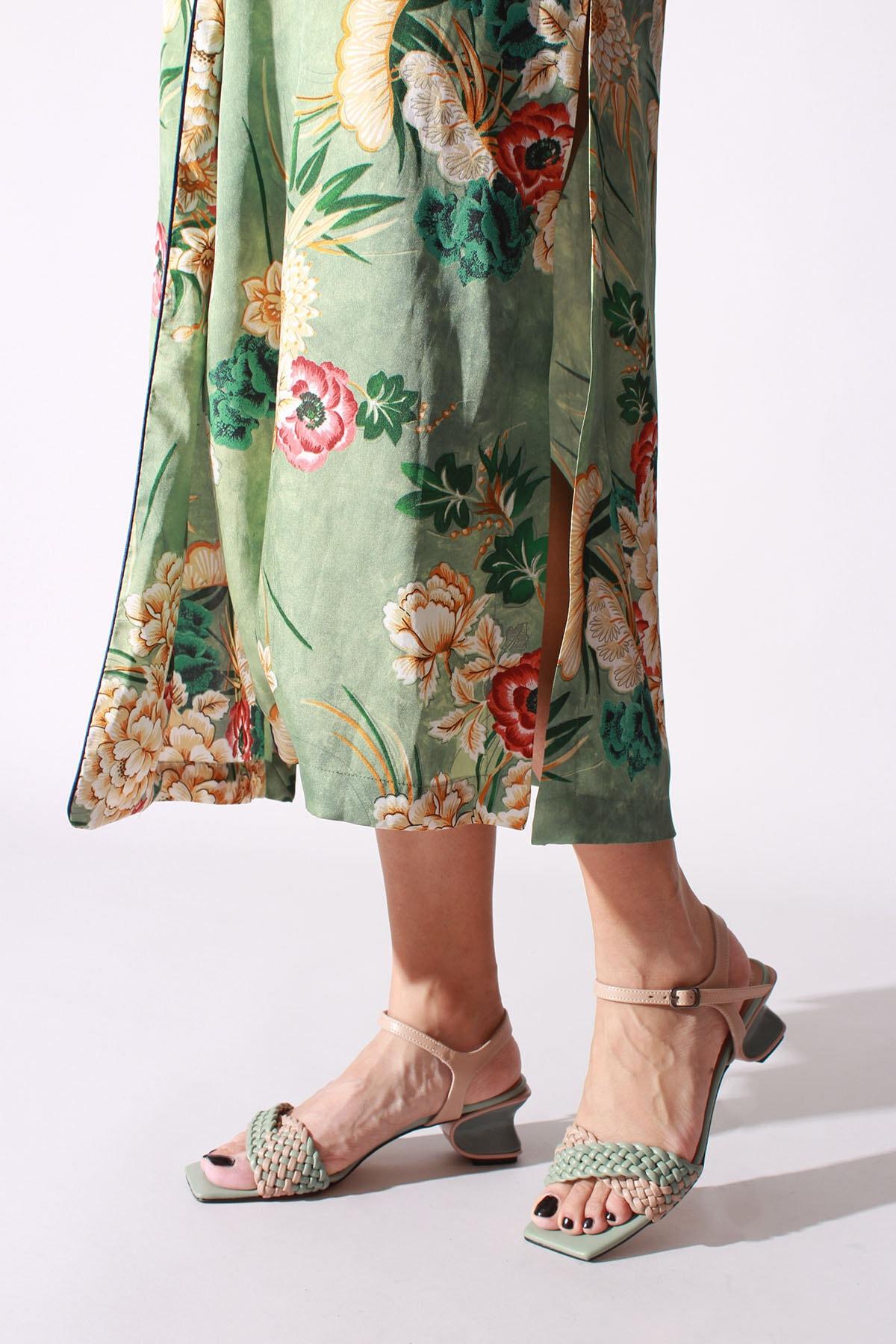 ROVIGO Kadın Mint Bej Cilt Klasik Ayakkabı 1