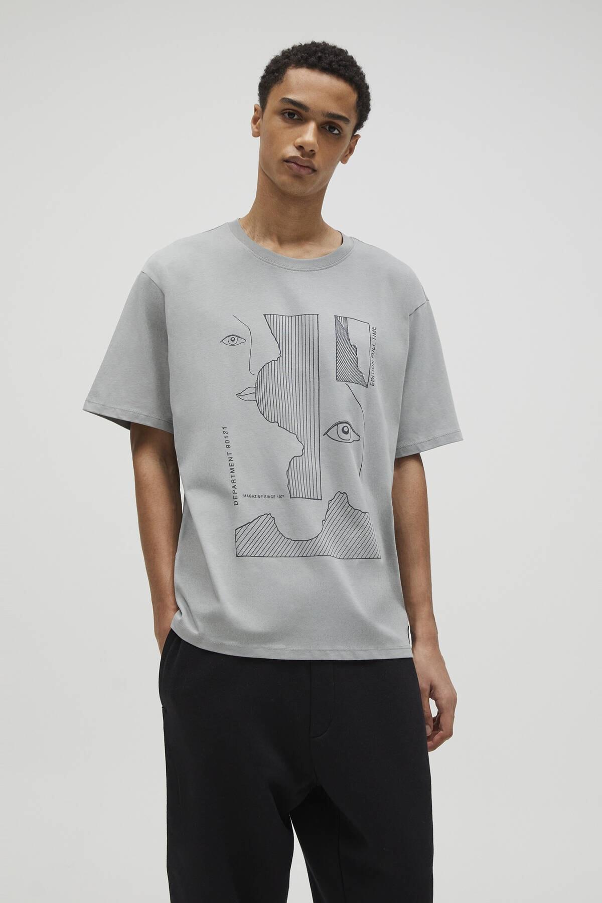 Pull & Bear Erkek Koyu Haki Yüz Profilleri Görselli T-Shirt 04240549