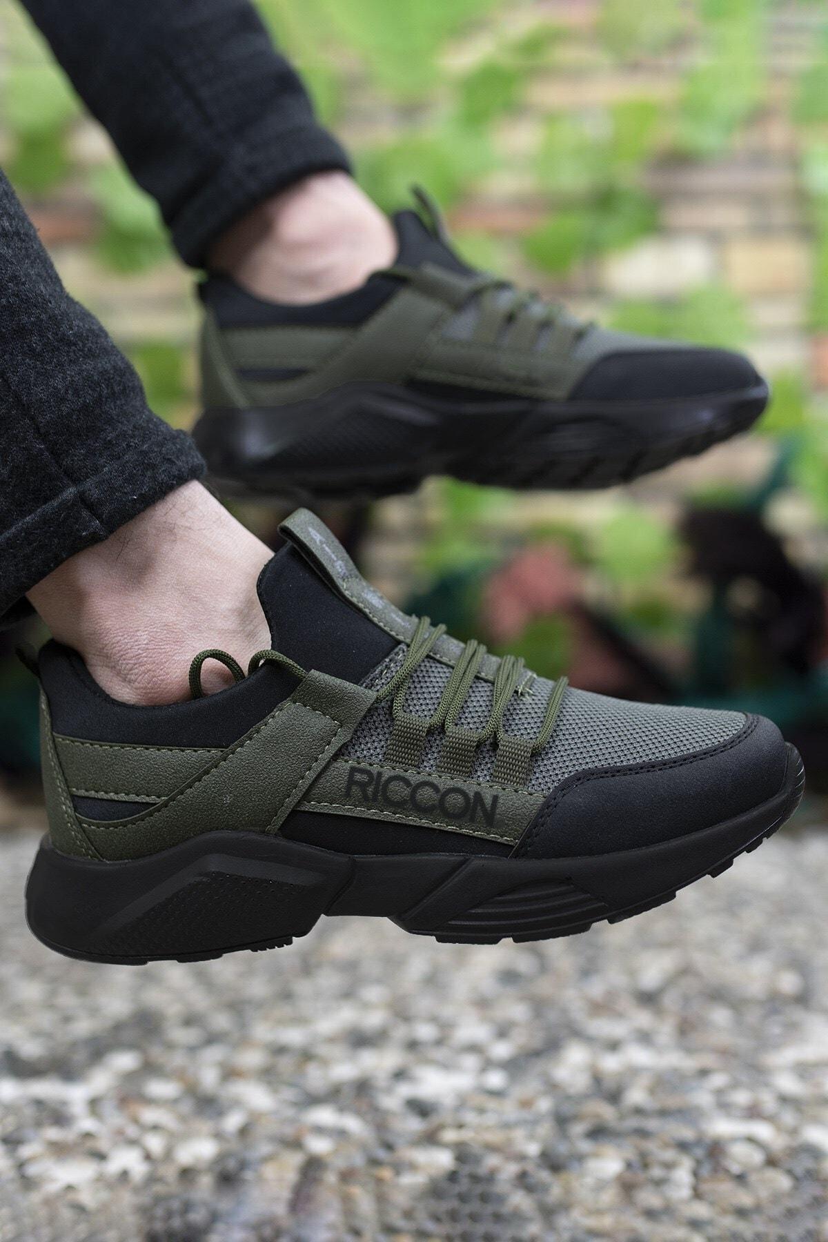 Riccon Unisex Haki Siyah Sneaker 0012072 1