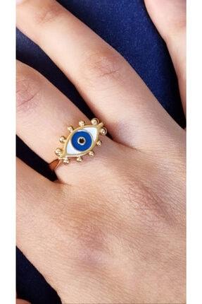 SİSTORİZE Kadın Koyu Mavi Gold Ayarlanabilir Göz Yüzük