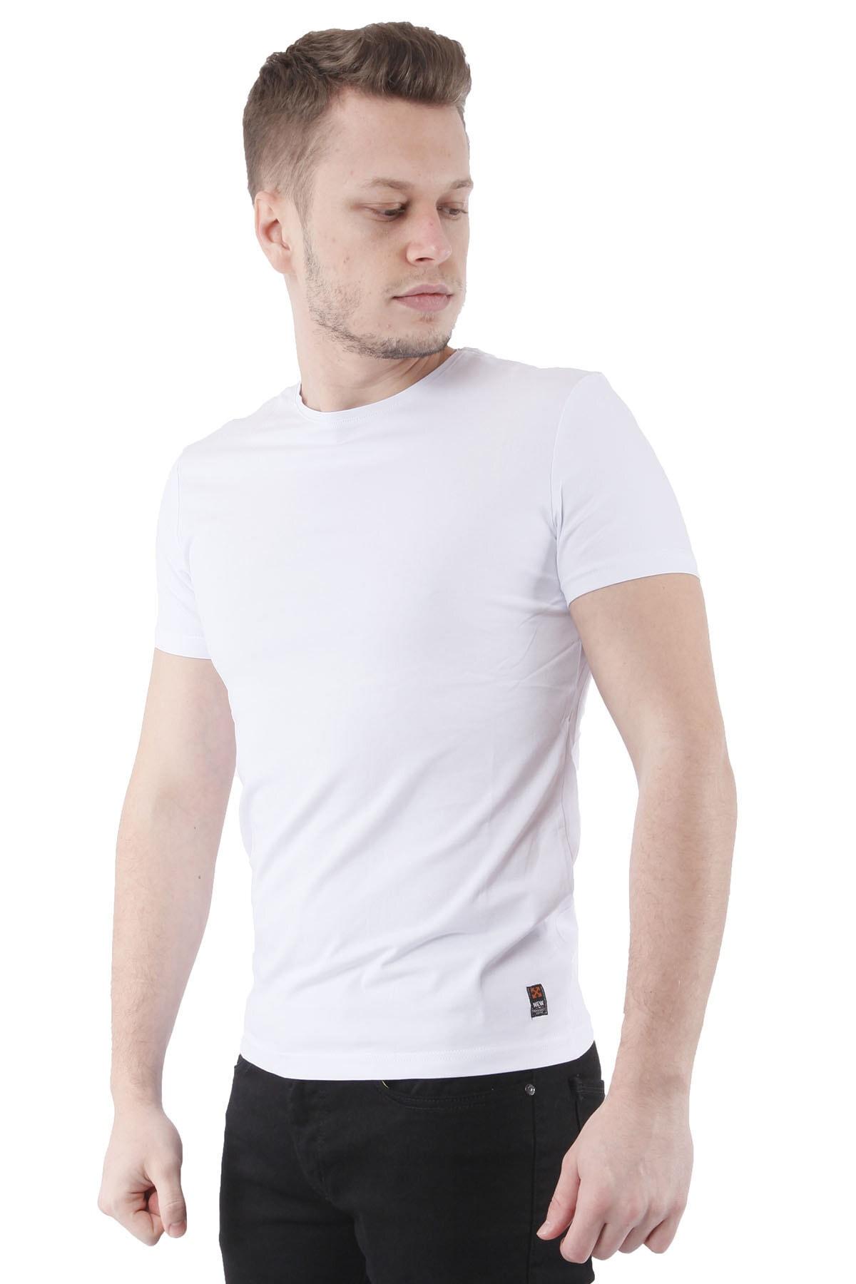 Canelia Beyaz Erkek Slimfit T-shirt 2