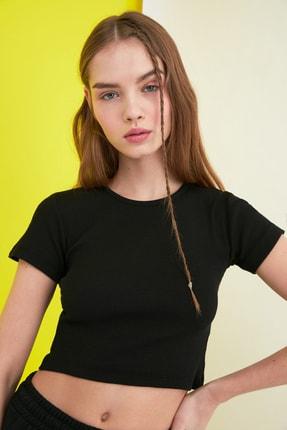 TRENDYOLMİLLA Siyah Fitilli Örme Bluz TWOSS21BZ0779