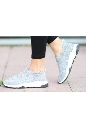 MİRKET Kadın Gri Kısa Çoraplı Yüksek Taban Triko Sneakers Spor Ayakkabı