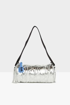 Bagmori Kadın Gümüş Şişme Fitilli Silindir Mini Çanta M000005291