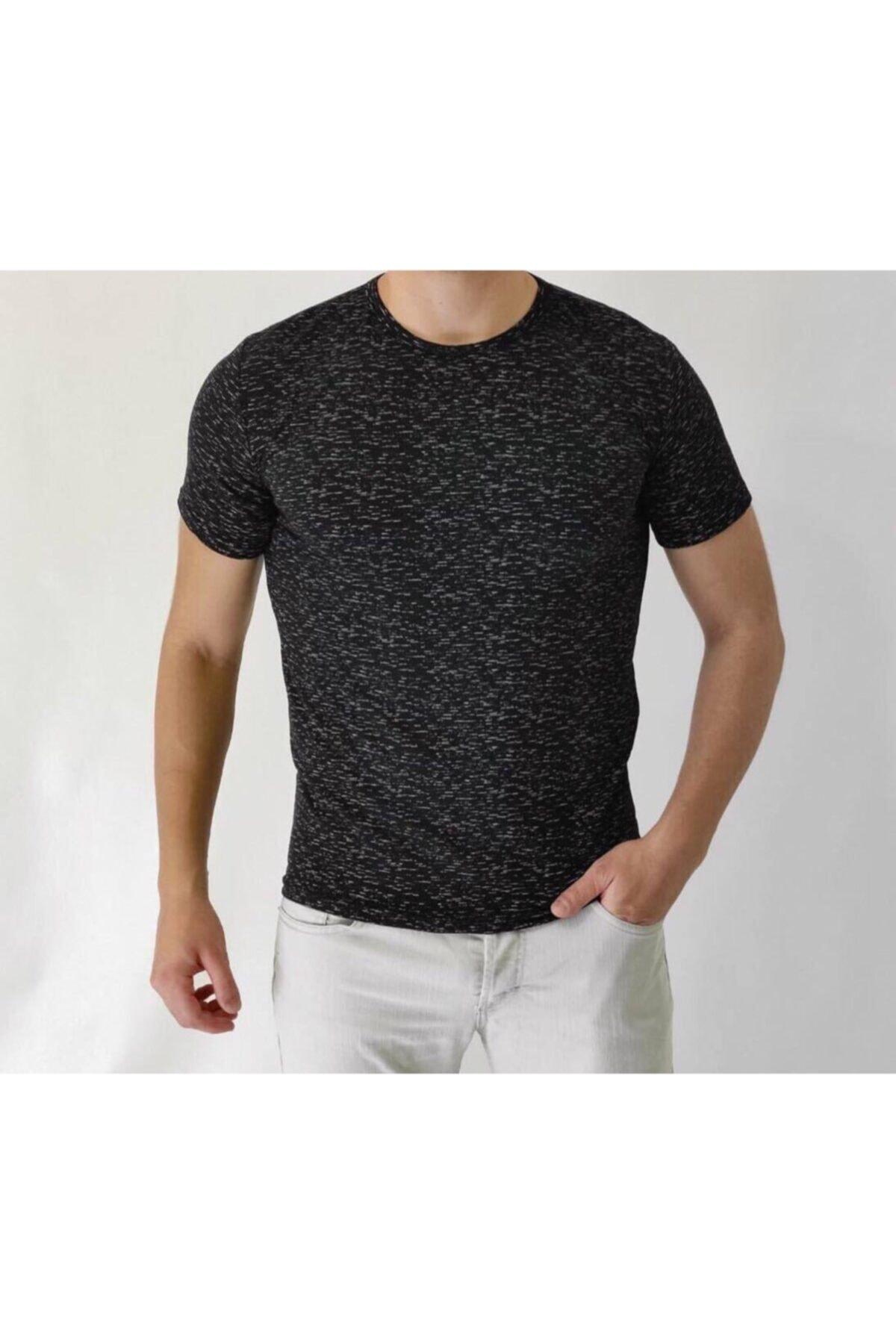 Lilya giyim Unisex Beyaz Desenli Siyah Basic Tshirt 1