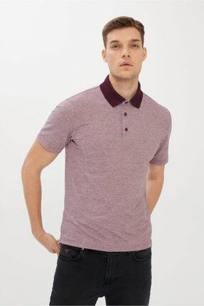 Kiğılı Erkek Mürdüm Polo Yaka Desenli Regular Fit T-shirt