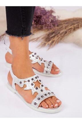 ayakkabıhavuzu Kadın Gümüş Suni Deri Sandalet