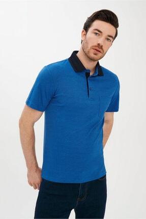 Kiğılı Erkek Mavi Polo Yaka Çizgili Regular Fit T-shirt