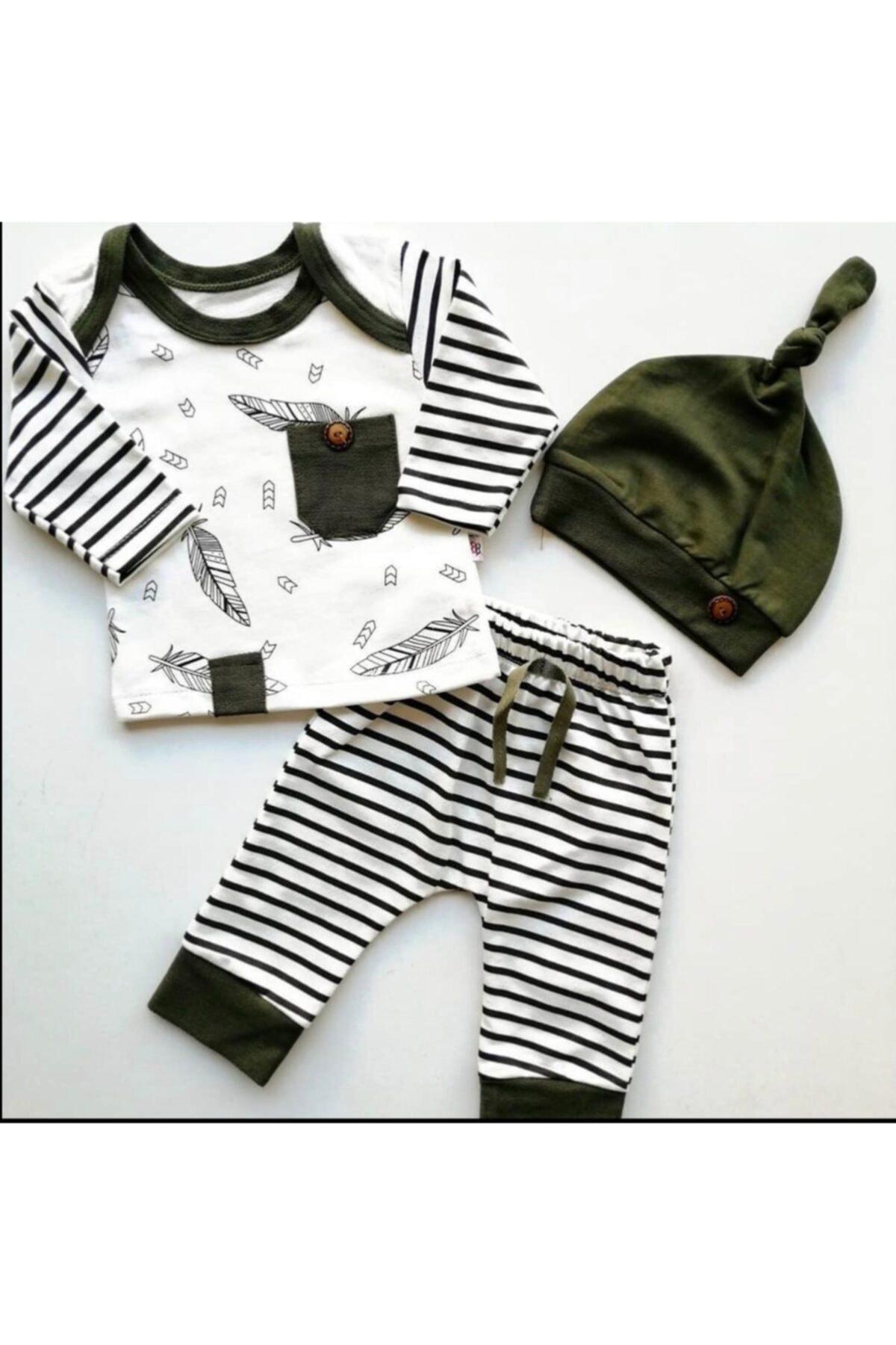 Beren Kids Şık Baskılı Şapkalı Bebek Alt Üst Takım 1
