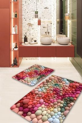 EVİMOD The Bubble Renkli Yıkanabilir 2li Banyo Halısı Paspas Klozet Takımı X