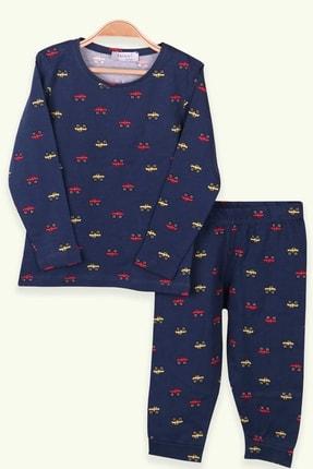Breeze Erkek Çocuk Pijama Takımı Araba Desenli Lacivert (1.5-5 Yaş)