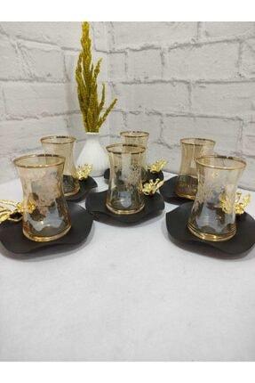 Limyacam Bal Rengi Japon Çiçeği Özel Tasarım Çay Seti 6 Kişilik