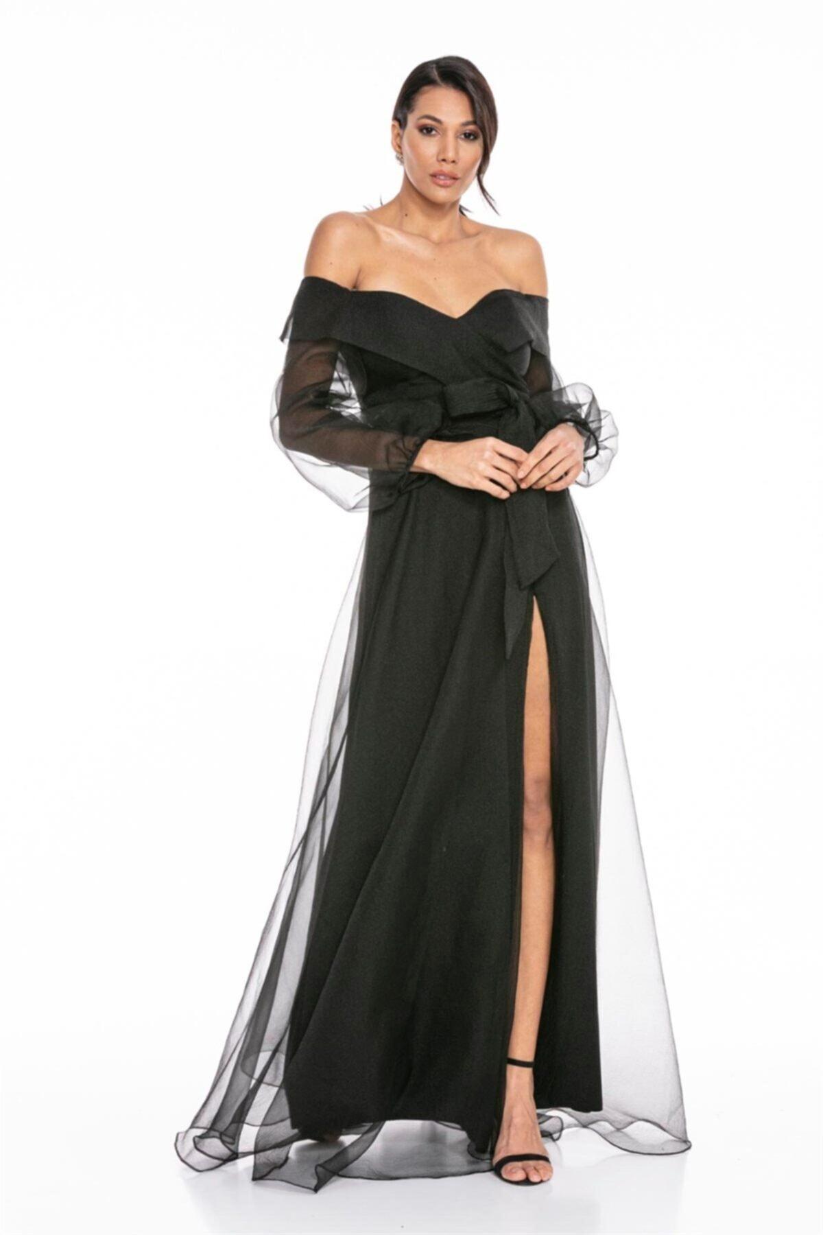Abiye Sarayı Siyah Kayık Yaka Yırtmaç Ve Kemer Detaylı Tül Uzun Abiye Elbise 2
