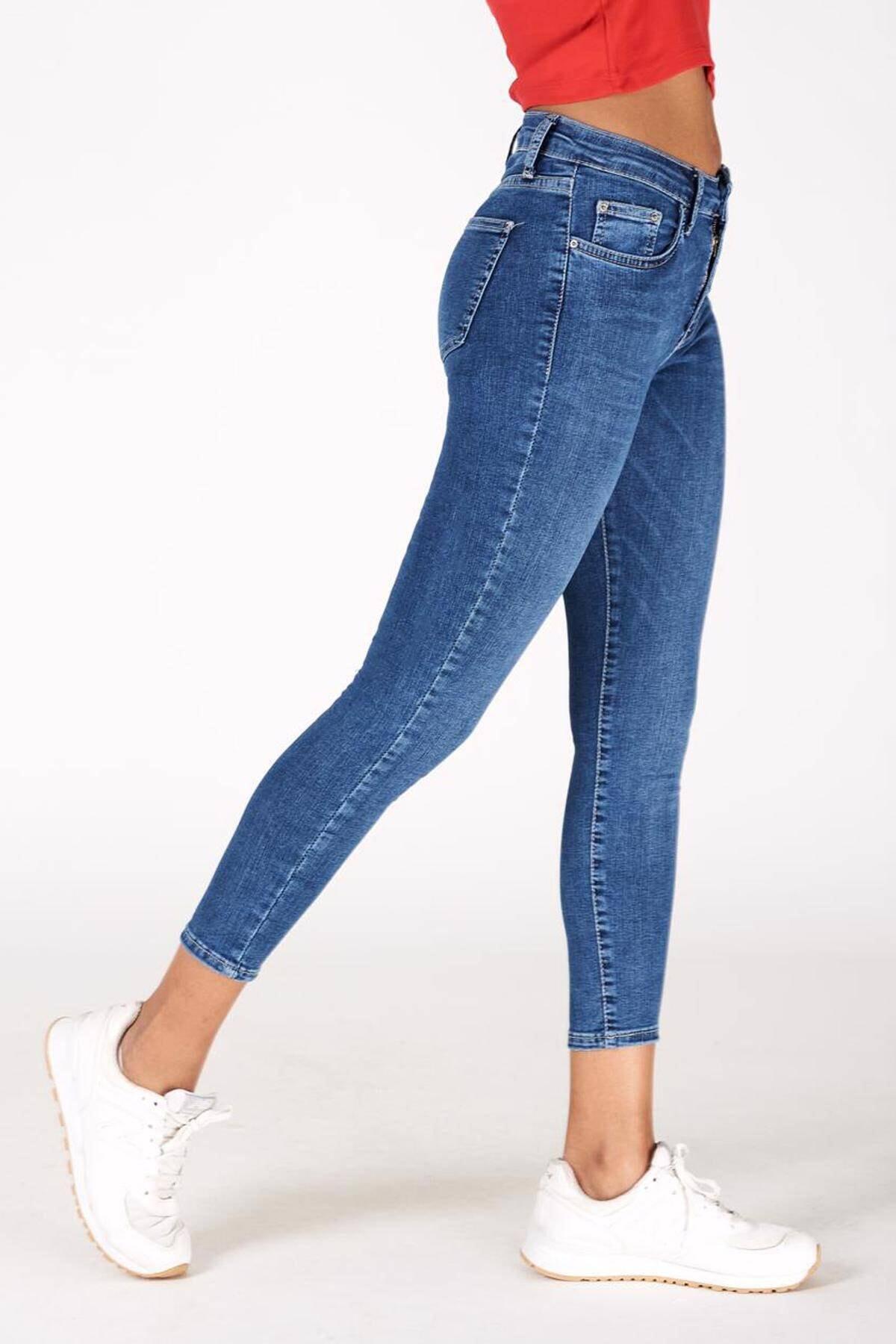 Addax Kadın Kot Rengi Orta Bel Pantolon Pn5799 - Pnr ADX-0000016979 2