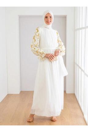 Loreen Kadın Ekru Kol Detaylı Elbise