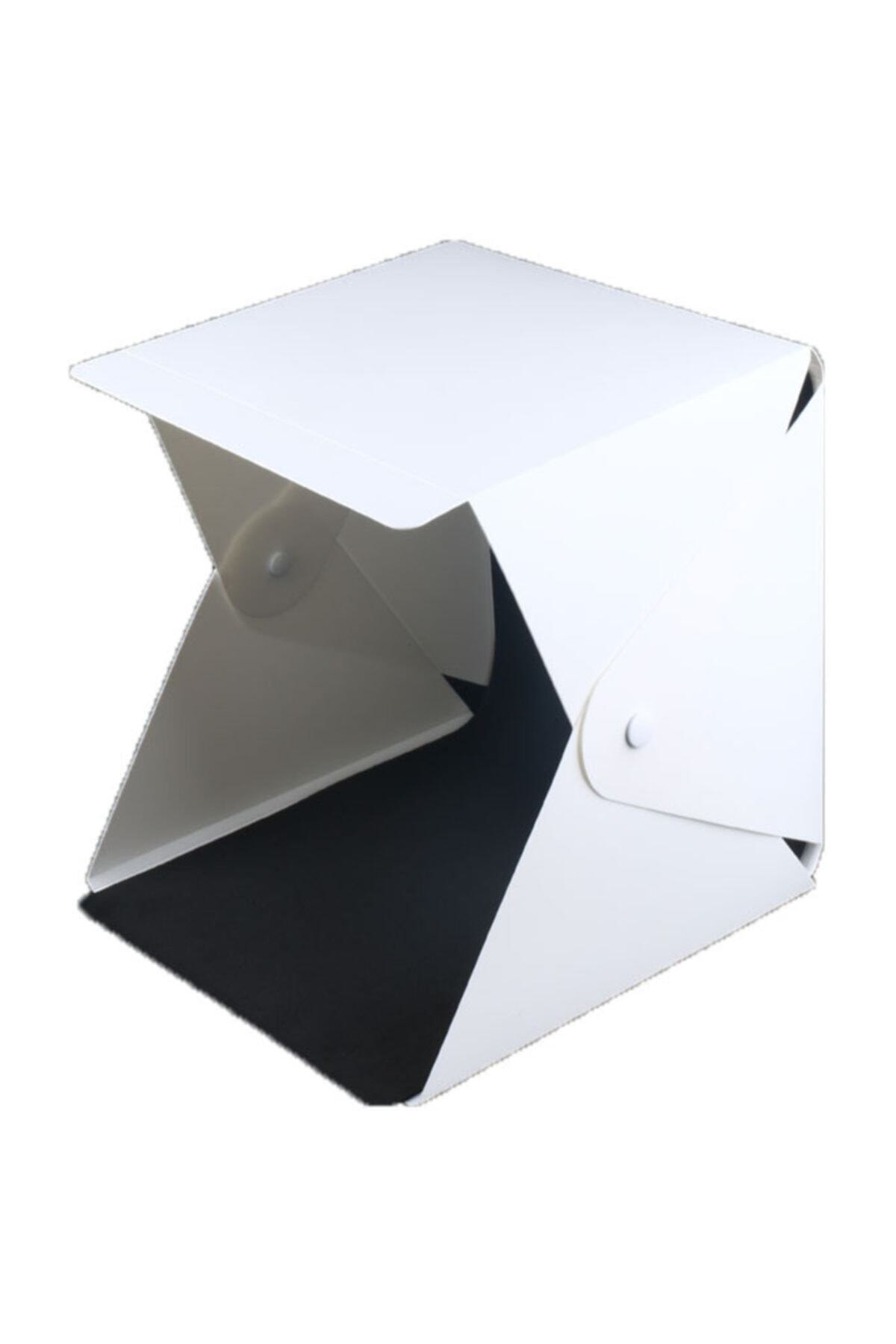 Vision Portatif Işıklı Ürün Fotograf Çekim Çadırı 22.6*23*24cm 2 Fonlu Siyah-beyaz 2