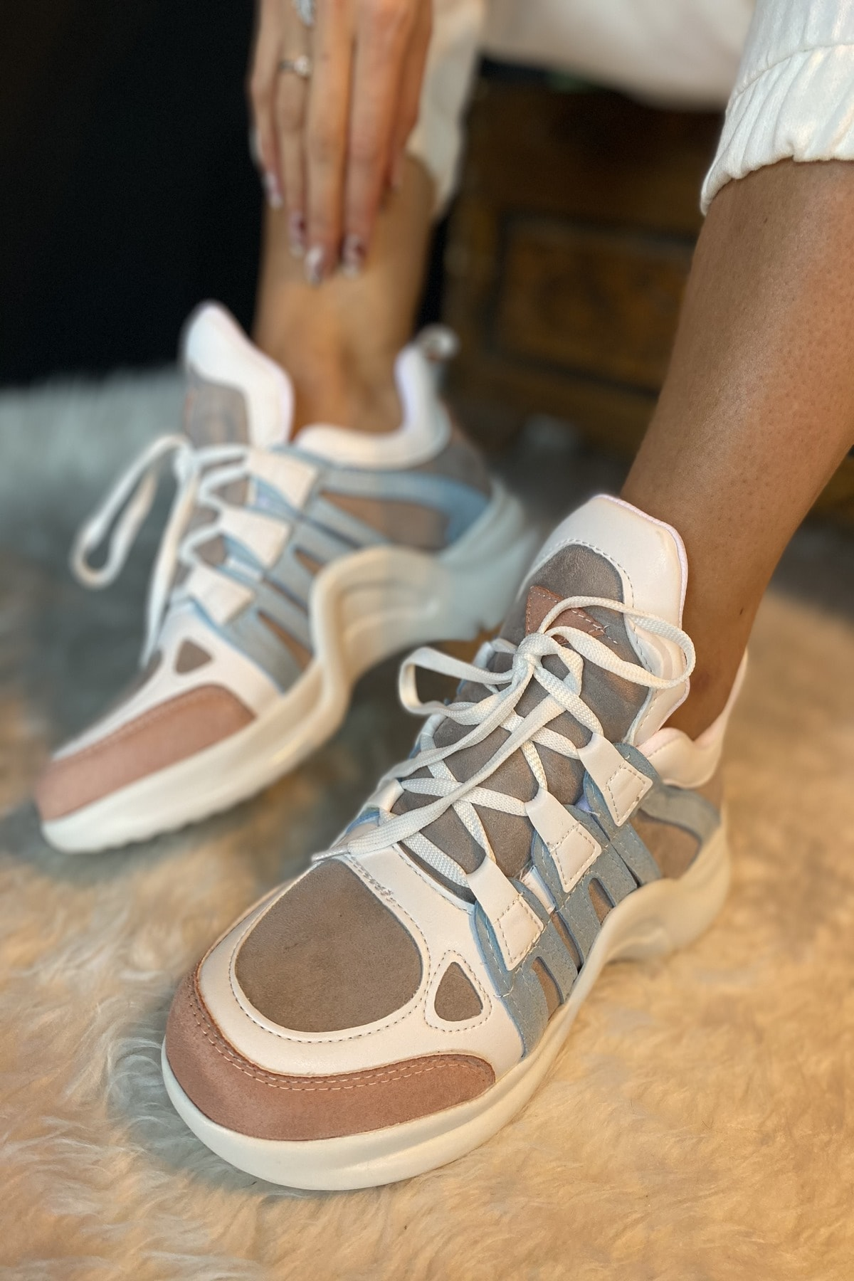 İnan Ayakkabı Kadın Beyaz 1. Kalite Suni Deri  Spor Ayakkabı 1
