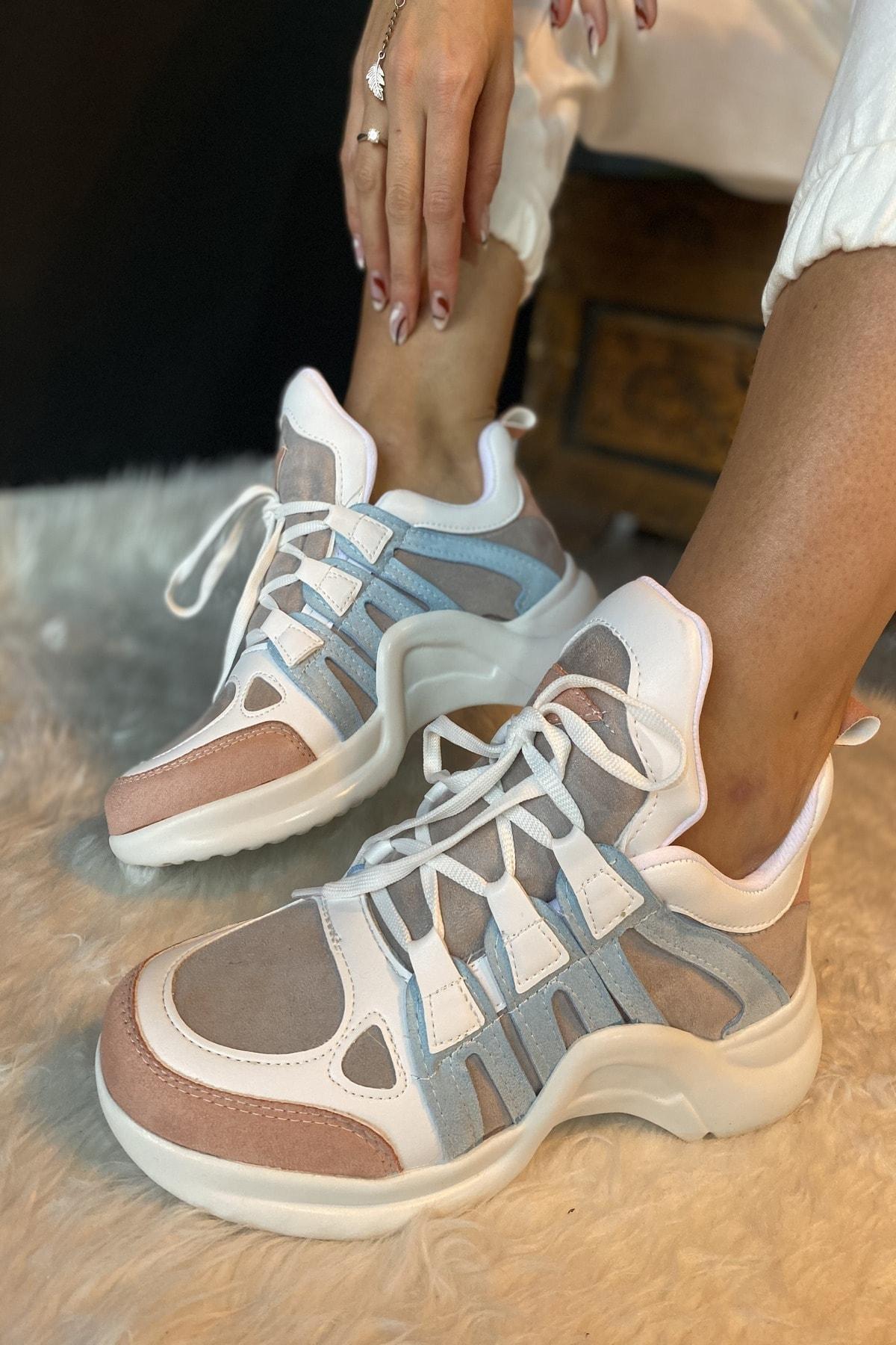 İnan Ayakkabı Kadın Beyaz 1. Kalite Suni Deri  Spor Ayakkabı 2