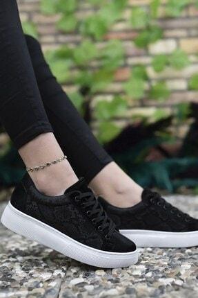 Riccon Kadın Siyah Yılan Derisi Görünümlü Sneaker 0012205