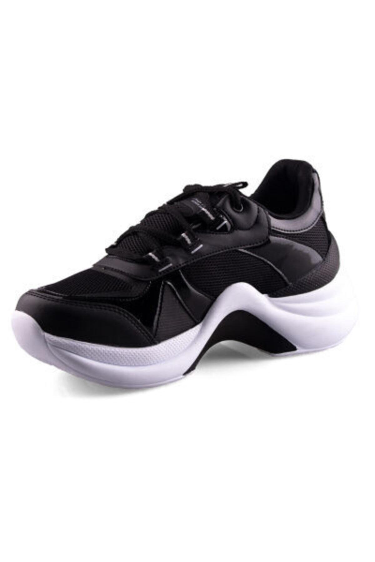 Twingo Bayan Siyah Yüksek Kalın Taban Günlük Spor Ayakkabı 2