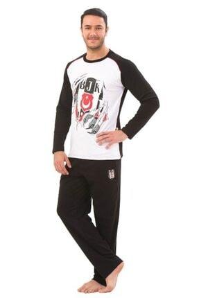 ROLY POLY Erkek Siyah Beyaz Beşiktaş 4313 Lisanslı Pijama Takımı