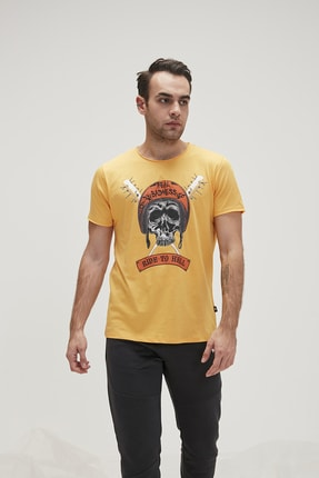 Bad Bear Erkek Tişört RIDE TO HELL TEE MUSTARD