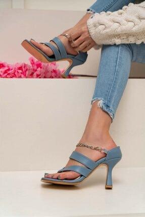 NİŞANTAŞI SHOES Kadın Gillian Mavi Mat Parmak Arası Bilek Bağlı Topuklu Ayakkabı