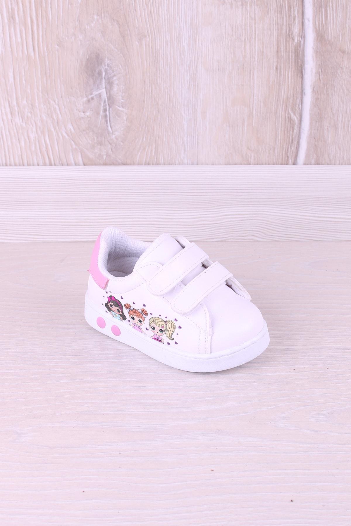 Kidya Kız Bebek Beyaz Baskılı İlk Adım Antibakteriyel Ortopedik Ayakkabı 1
