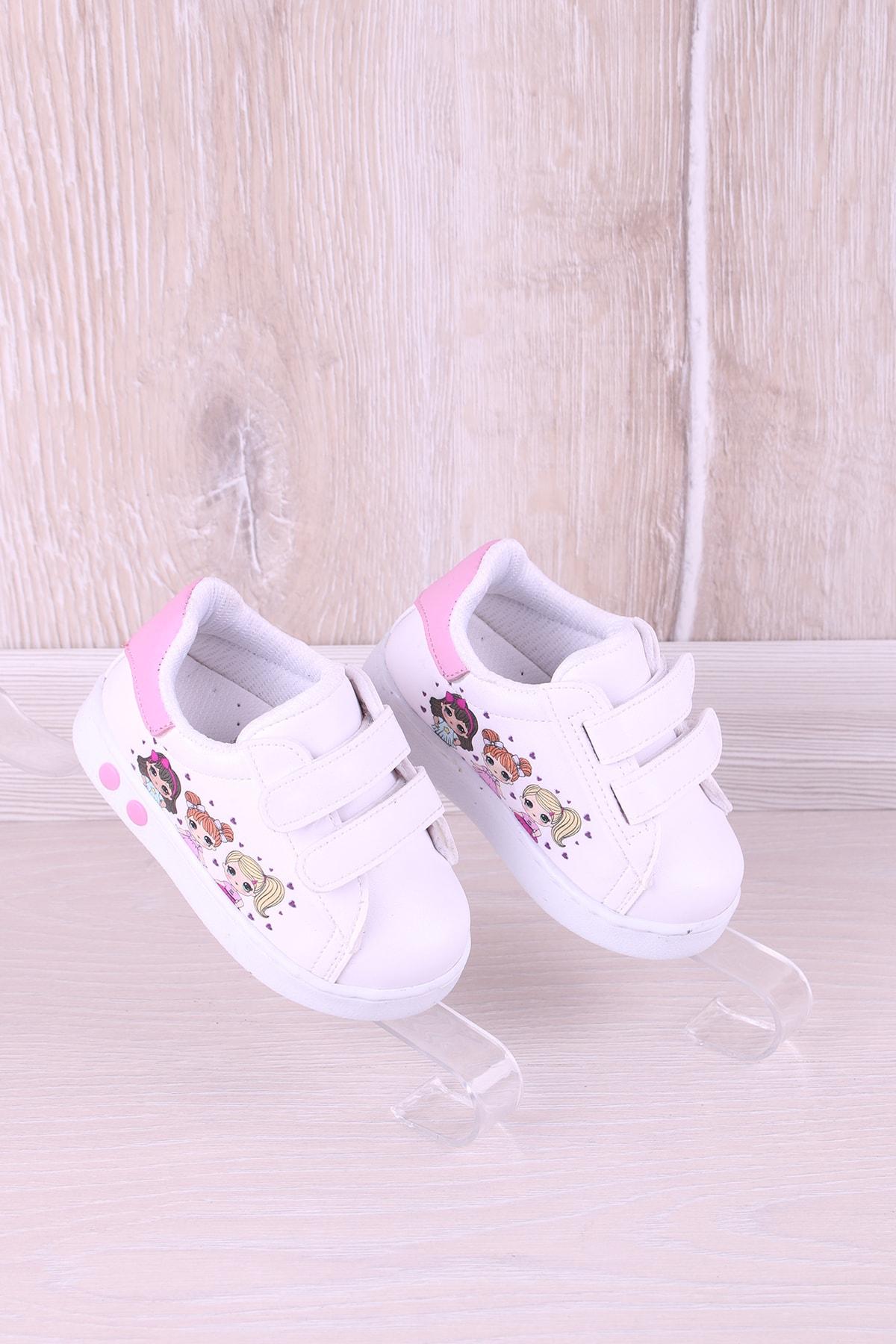 Kidya Kız Bebek Beyaz Baskılı İlk Adım Antibakteriyel Ortopedik Ayakkabı 2