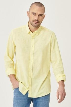 AC&Co / Altınyıldız Classics Erkek Sarı Tailored Slim Fit Dar Kesim Düğmeli Yaka %100 Koton Gömlek