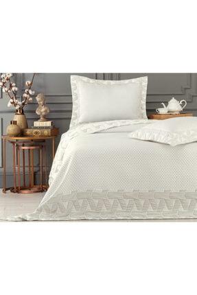 Madame Coco Alvia King Size Yatak Örtüsü - Taş