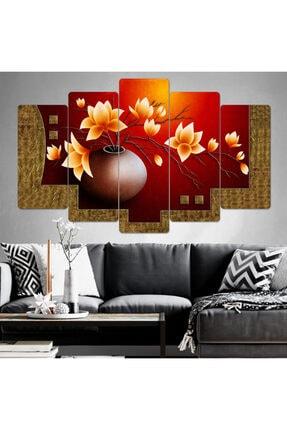 hanhomeart Çiçek Parçalı Ahşap Duvar Tablo Seti-5pr-0977