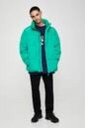 Pull & Bear Erkek Yeşil Basic Renkli Şişme Mont 05713525