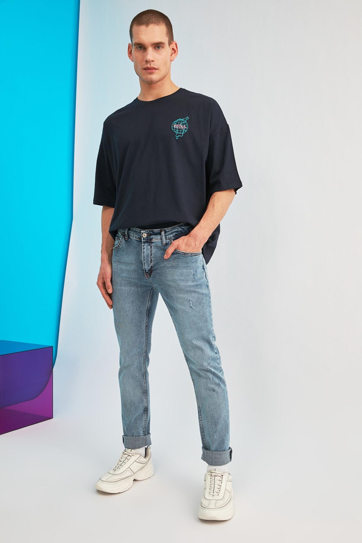 TRENDYOL MAN Mavi Erkek Skinny Fit Jeans TMNSS21JE0278 2