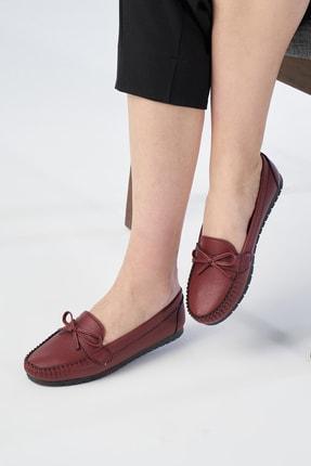 OCT Shoes Kadın Bordo Fiyonk Babet Ts1024