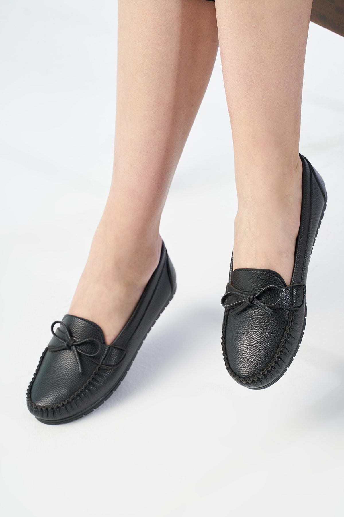 OCT Shoes Siyah Kadın Fiyonk Babet TS1024 1