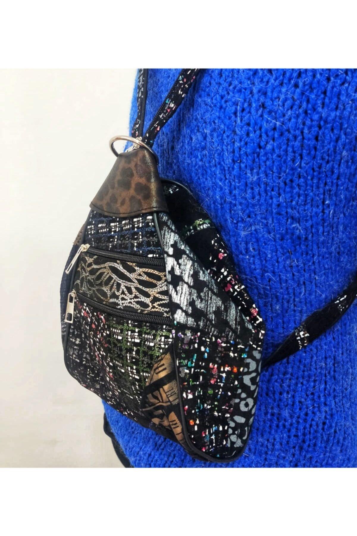 MRD Design Kadın Deri Üçgen Detay Modern Sırt Çanta 2