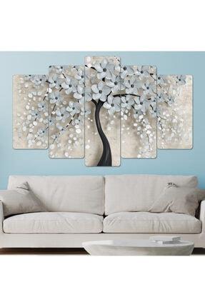 hanhomeart Ağaç Beyaz Yaprak Parçalı Ahşap Duvar Tablo Seti-5pr-966