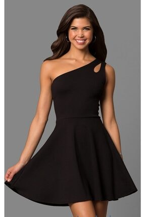 tknfashion Siyah Esnek Kumaş Tek Omuz Mini Elbise