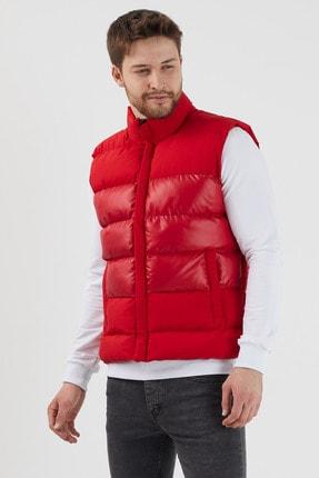 Gavazzi Erkek Kırmızı Hakim Yaka Parlak Detaylı Iç Cepli Spor Polyester Şişme Yelek