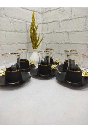 Limyacam Mat Siyah Özel Tasarım Çay Seti 6 Kişilik