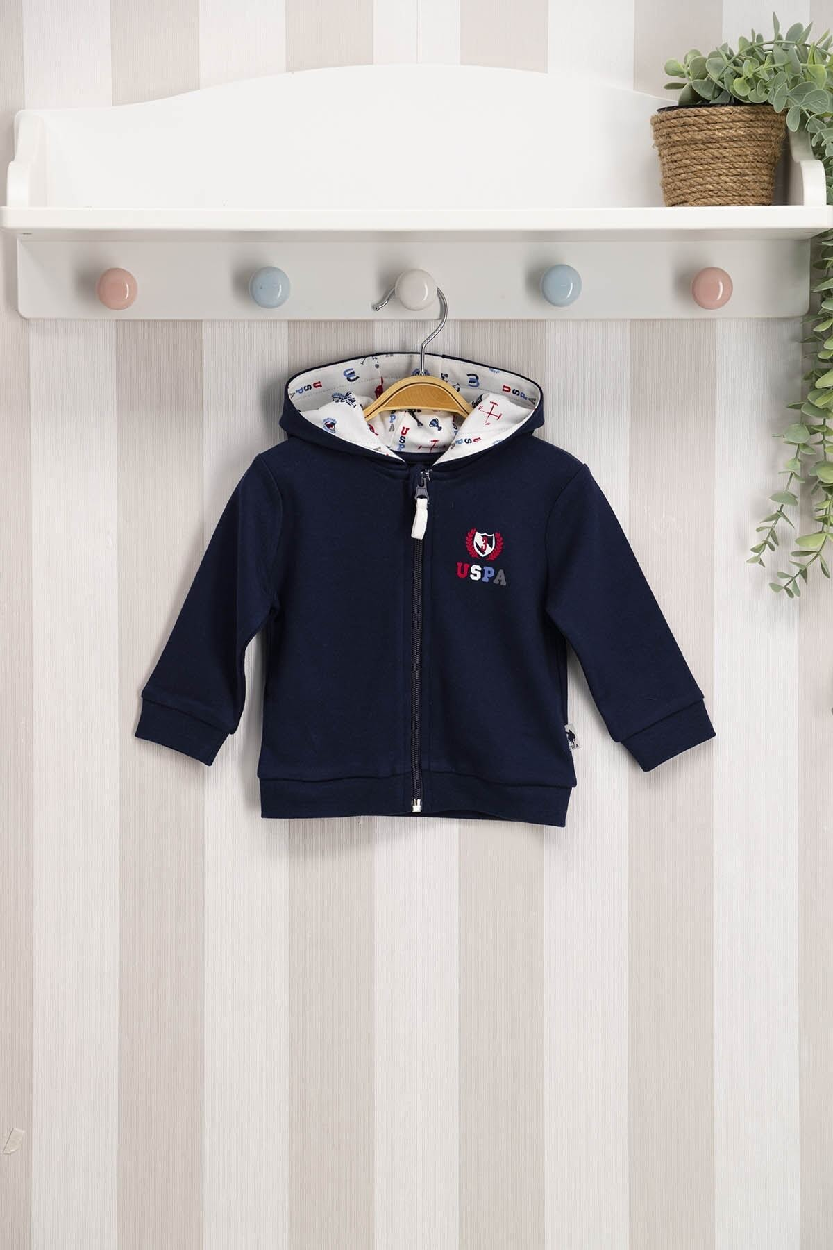 U.S. Polo Assn. Kids U.s. Polo Assn Lisanslı Lacivert Bebek Kapişonlu Hırka Usb121 1