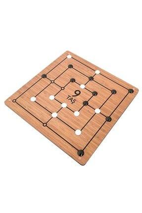 HOBİ 9 Taş - 3 Taş Oyunu - Ahşap Platform Dokuz Taş Oyunu