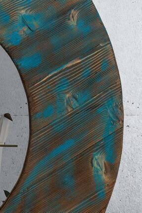 bluecape Doğal Ağaç Masif Eskitme 90 Cm Yuvarlak Salon Ofis Mutfak Çocuk Odası Duvar Konsol Boy Aynası
