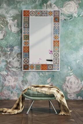 bluecape Doğal Ağaç 62x100 Cm Beyaz Çerçeve El Yapımı Çini Seramik Kaplı Salon Ofis Mutfak Duvar Boy Aynası