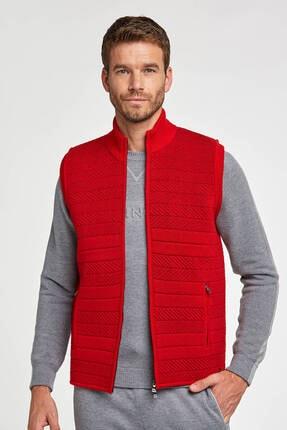 Hemington Erkek Kırmızı Merino Yün Activewear Spor Triko Yelek