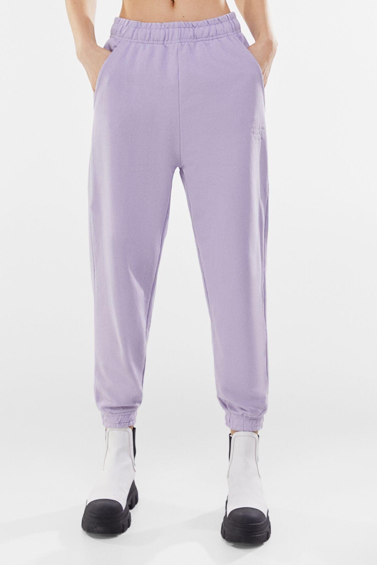 Bershka Kadın Mor Soluk Efektli Penye Jogging Fit Pantolon 00240478