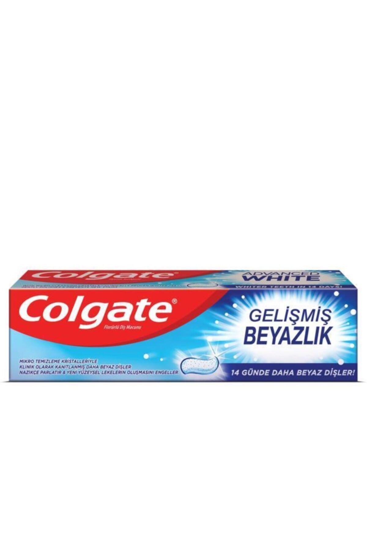 Colgate Gelişmiş Beyazlık Beyazlatıcı Diş Macunu 3 x 75 ml, Üçlü Etki Orta Diş Fırçası 2