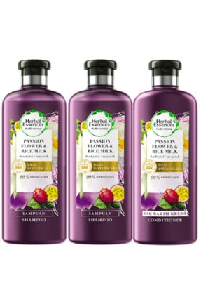 Herbal Essences Şampuan Çarkıfelek Çiçeği Ve Pirinç Sütü 400 mlX2 Adet + Saç Bakım Kremi 360 ml